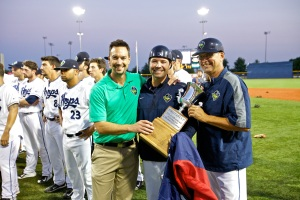 Hops' GM K.L. Wombacher with manager J.R. House and hitting coach Mark Grace.