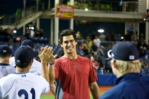 Jared Miller has earned quite a few high-fives this season. (Kevin Hume/Hillsboro Hops)